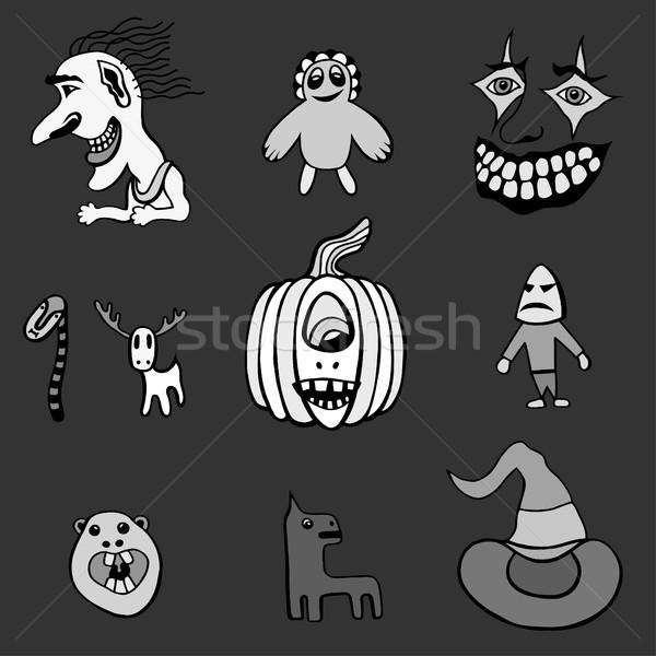 Stockfoto: Ingesteld · halloween · monochroom · monsters · hoeden · zwart · wit