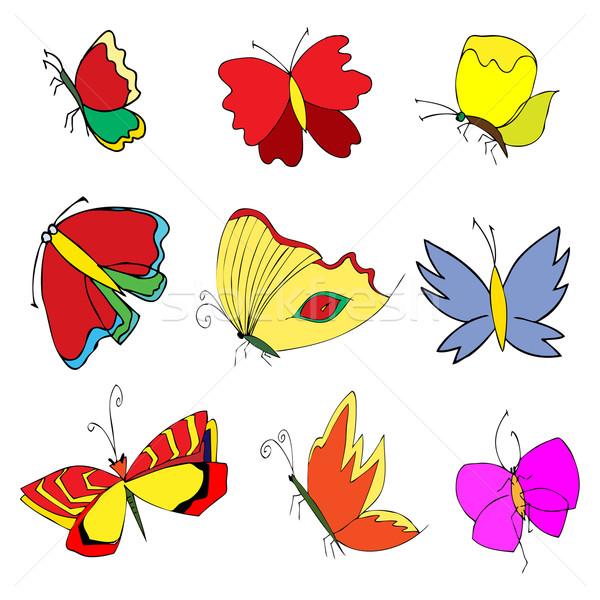 насекомые болван набор рисованной стороны природы Сток-фото © frescomovie