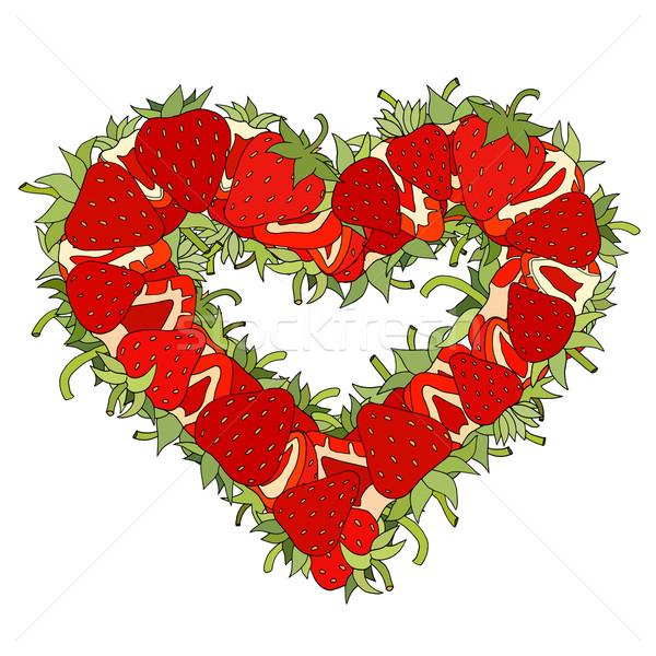 Foto stock: Coração · morangos · forma · fresco · comida · amor