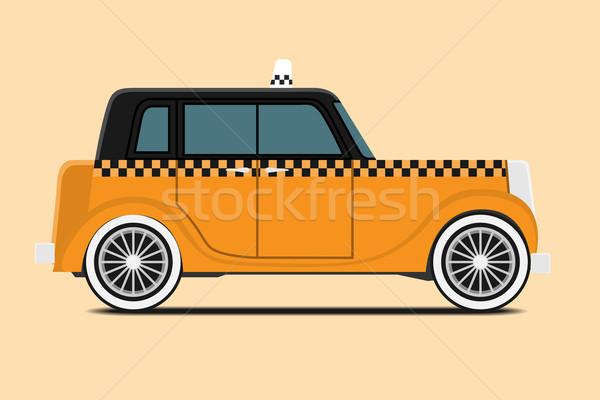Stok fotoğraf: Bağbozumu · taksi · araba · görüntü · yalıtılmış · dizayn