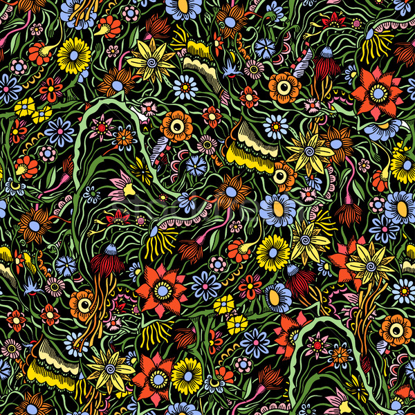 Stock photo: pattern with garden flowers