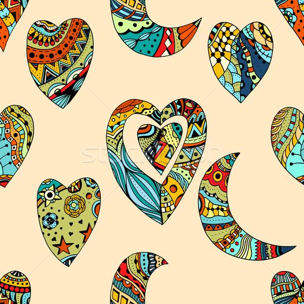 шаблон сердцах полумесяц рисованной карт Сток-фото © frescomovie