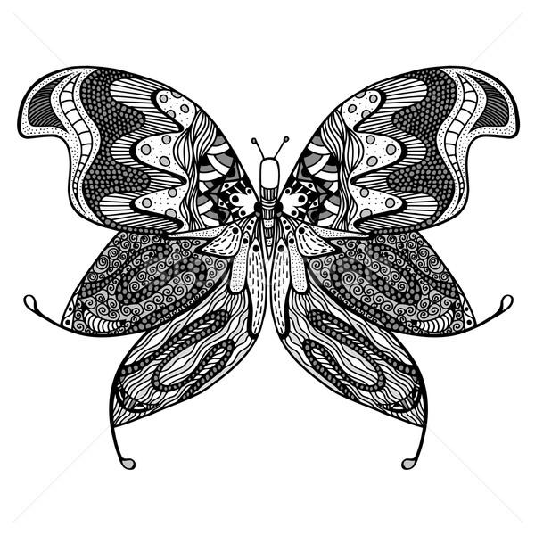 Zentangle stylized butterfly. Stock photo © frescomovie