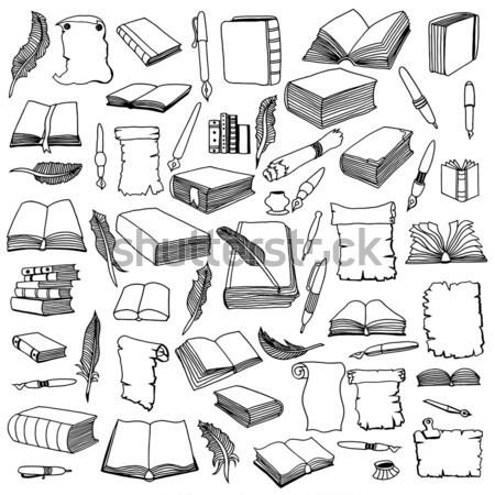 шаблон большой набор книгах бесшовный рисованной Сток-фото © frescomovie