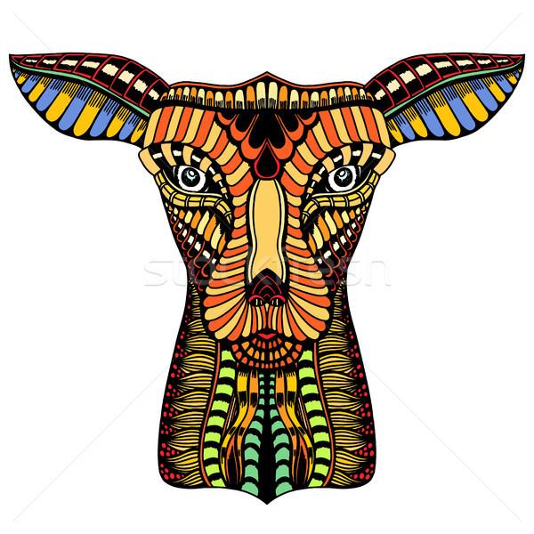 Firka díszes szarvas illusztráció kézzel rajzolt dekoratív Stock fotó © frescomovie