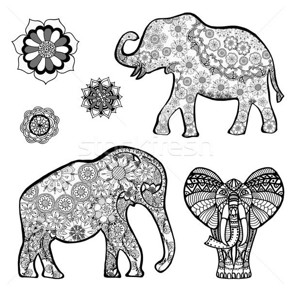 Stockfoto: Olifant · ingesteld · vector · tekening · etnische · patronen