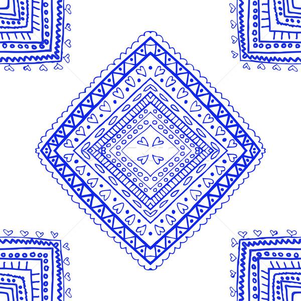 Zdjęcia stock: Niebieski · projektu · holenderski · Płytka · włókienniczych