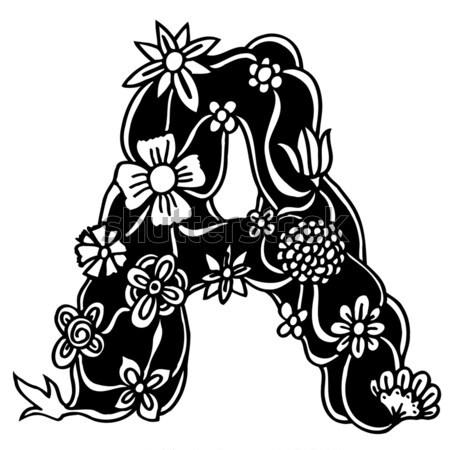 Karalama siyah beyaz mektup çiçekler Stok fotoğraf © frescomovie