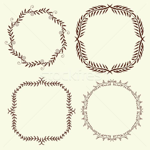 Set of 4 hand drawn frames, vector Stock photo © frescomovie