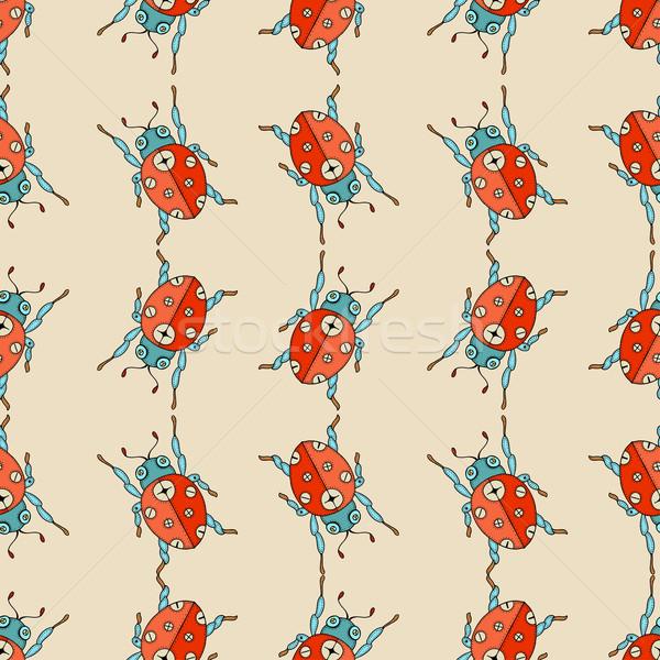 Ladybug wektora cute strony rysunek Zdjęcia stock © frescomovie