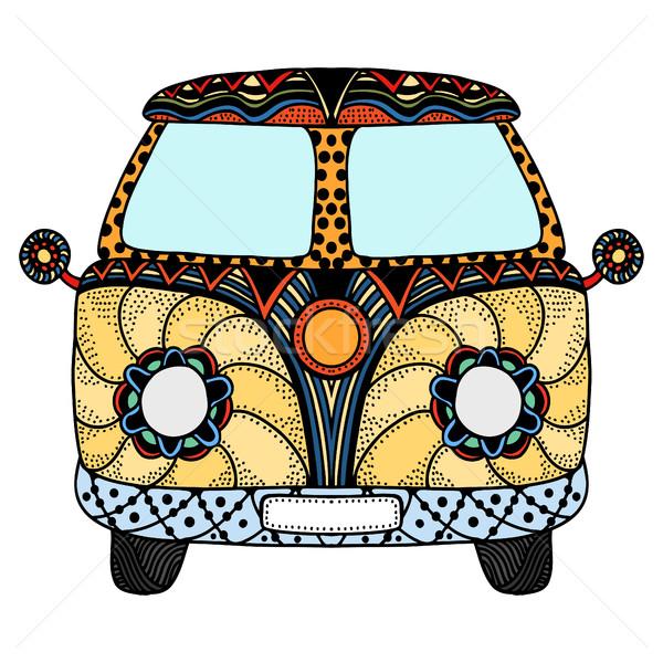 Régi autó mini furgon stílus kézzel rajzolt kép Stock fotó © frescomovie
