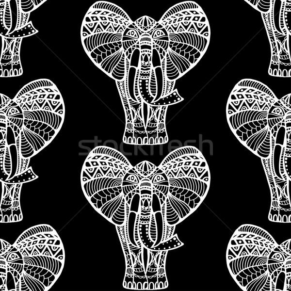 Olifanten kunst weefsel Rood patroon Stockfoto © frescomovie