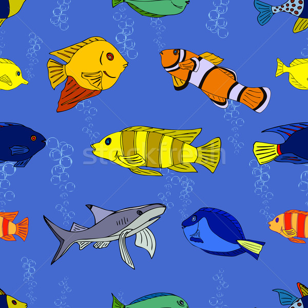 Seamless pattern Tropical fish Stock photo © frescomovie
