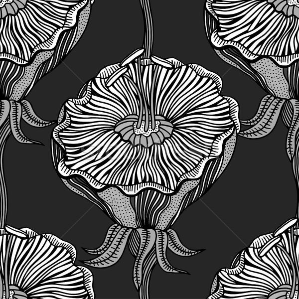 Seamless Monochrome Floral Pattern Stock photo © frescomovie
