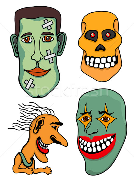 Сток-фото: набор · Хэллоуин · Монстры · голову · Hat