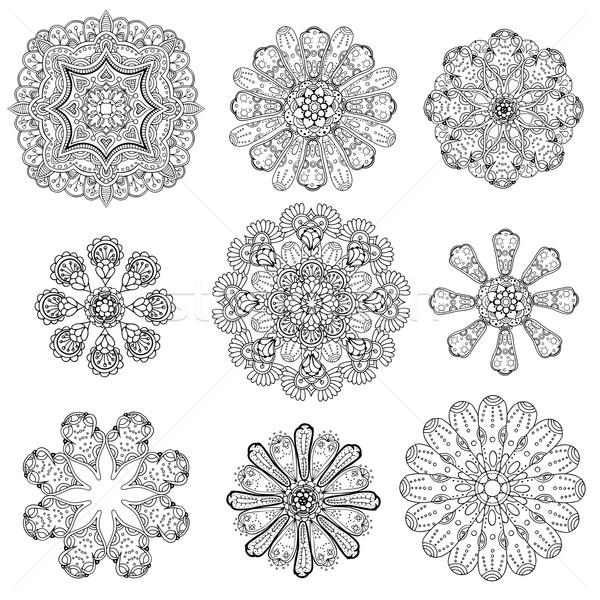 Geometric circular ornament set Stock photo © frescomovie