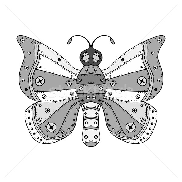 Zentangle stylized gray Butterfly Stock photo © frescomovie