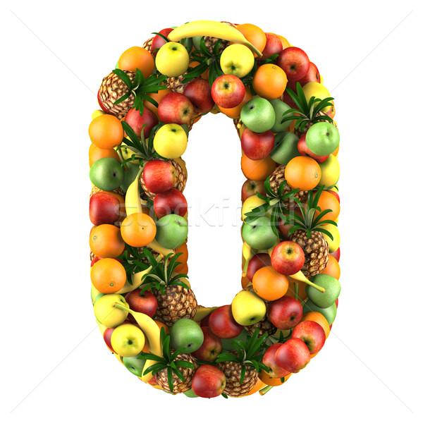 Numero pari a zero 3D frutti isolato bianco Foto d'archivio © frescomovie