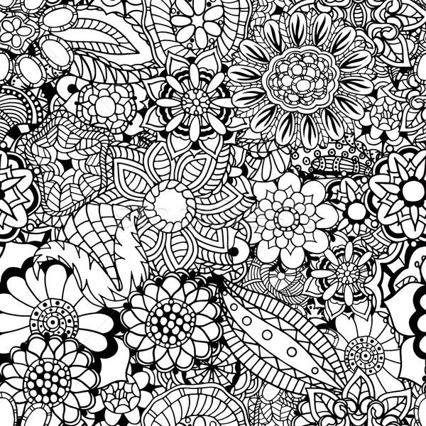 Stock fotó: Virágmintás · firka · minta · kifestőkönyv · kisebbségi · retro