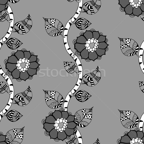 Monokróm virágmintás minta vektor végtelenített kézzel rajzolt Stock fotó © frescomovie