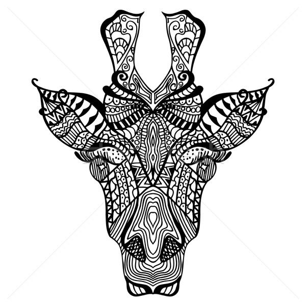 Giraffe etnische doodle patroon Stockfoto © frescomovie