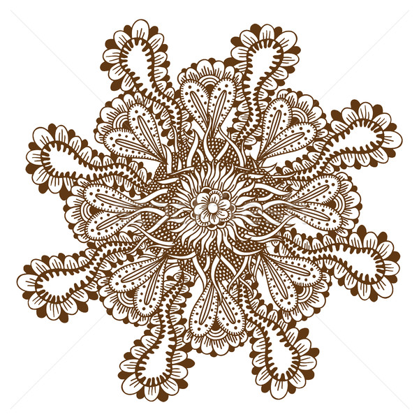 Henna Tattoo Mandala Rundschreiben floral Ornament Stock foto © frescomovie
