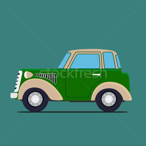 Vintage car. Isolated on green Stock photo © frescomovie