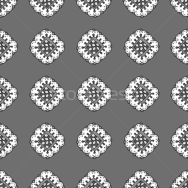 Muster abstrakten Blumen schwarz weiß Blume Stock foto © frescomovie