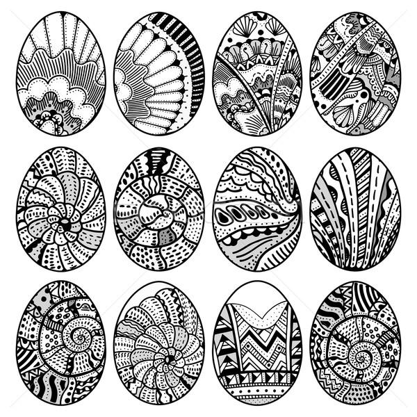 Foto stock: Dibujado · a · mano · huevos · de · Pascua · establecer · libro · para · colorear · adulto · diseno