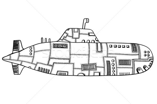 Doodle schets onderzeeër monochroom oude kunst Stockfoto © frescomovie