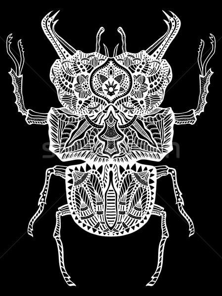 Vetor bicho monocromático tribal inseto adulto Foto stock © frescomovie