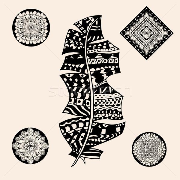 Stockfoto: Vintage · Tribal · veer · gestileerde · vector