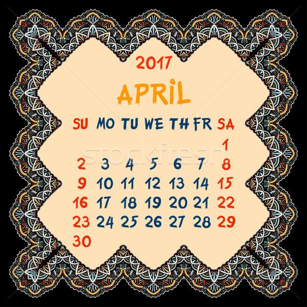 Calendário ano vetor projeto imprimir modelo Foto stock © frescomovie