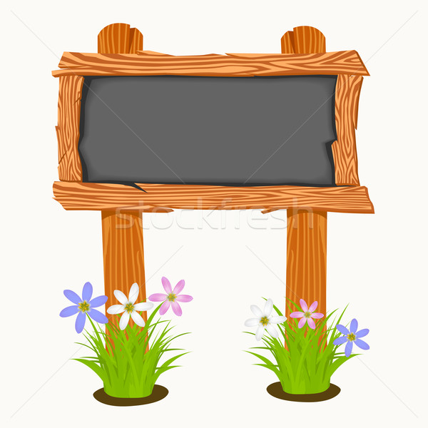 Ahşap okul tahta çiçekler kelebekler çiçek Stok fotoğraf © frescomovie