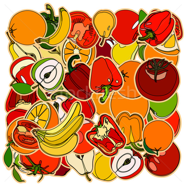 Fruits végétation doodle cartoon dessin Photo stock © frescomovie