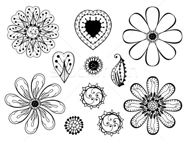 monochrome doodle flowers and leafs Stock photo © frescomovie