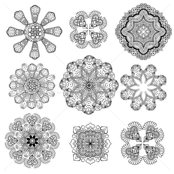 Geometrischen Rundschreiben Ornament Set abstrakten schwarz Stock foto © frescomovie