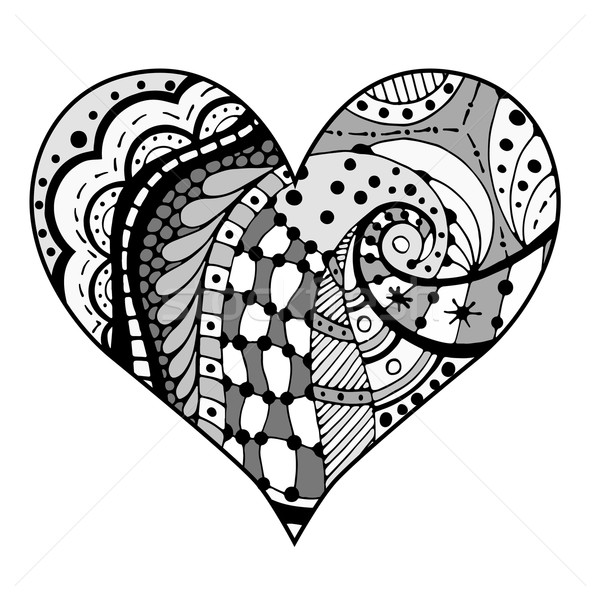 hearts in zentangle style Stock photo © frescomovie