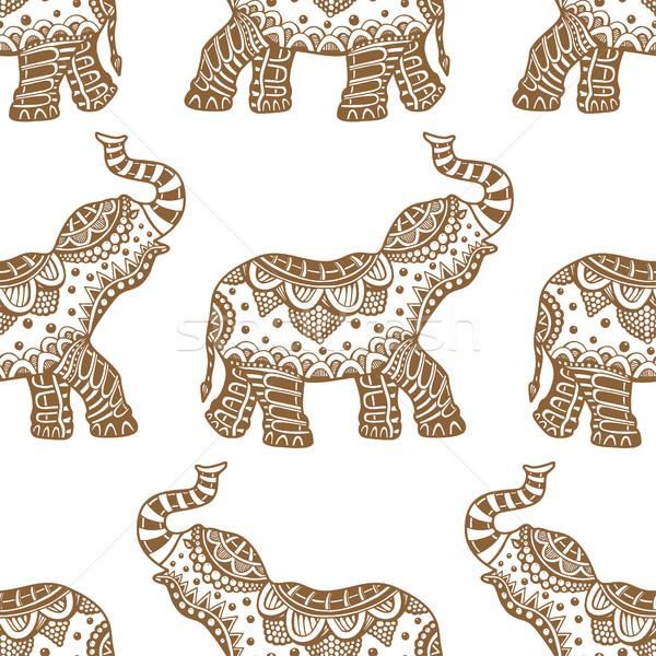 Stock fotó: Minta · indiai · elefántok · vektor · kézzel · rajzolt · firka