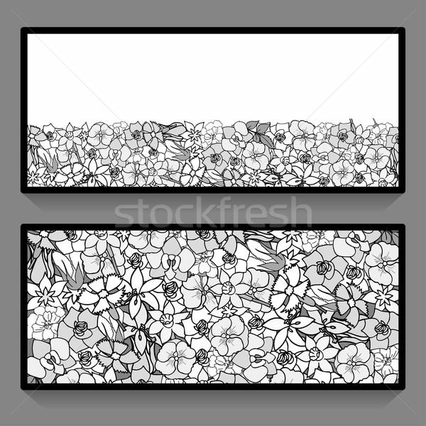 Monochrome flowers pattern cards Stock photo © frescomovie