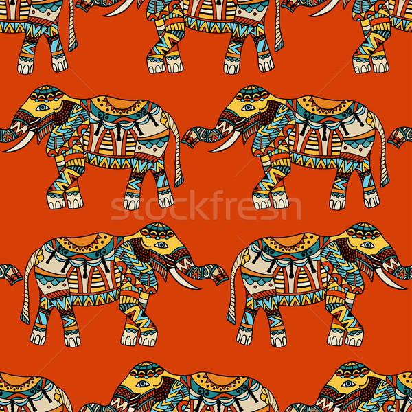 Stock fotó: Elefántok · vektor · végtelenített · textúra · stilizált · indiai