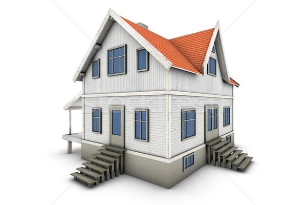 Сток-фото: семьи · дома · новых · 3d · иллюстрации · изолированный · белый