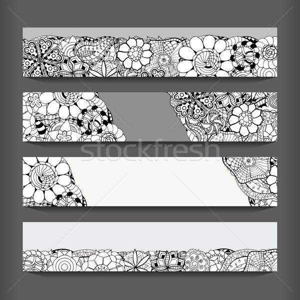Abstract modello di fiore carte set in bianco e nero immagine Foto d'archivio © frescomovie