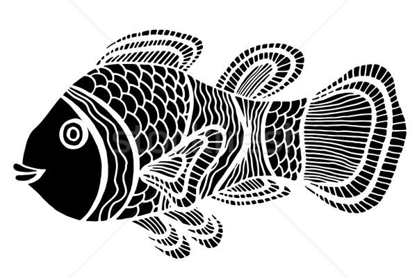 Monochroom gestileerde vis doodle geïsoleerd Stockfoto © frescomovie