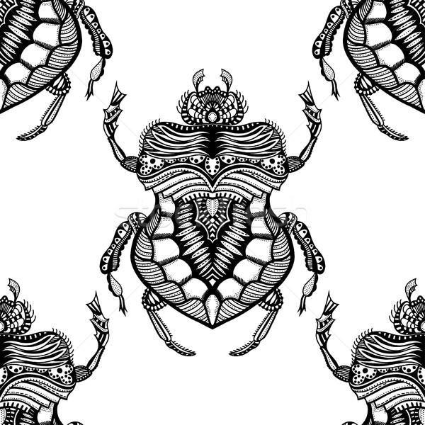 Kézzel rajzolt stilizált bogár vektor végtelen minta feketefehér Stock fotó © frescomovie