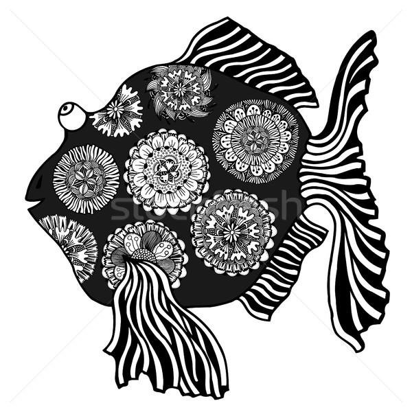 Vis communie zwart wit stijl Stockfoto © frescomovie
