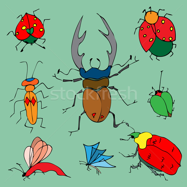 Set of colorful bugs. Stock photo © frescomovie