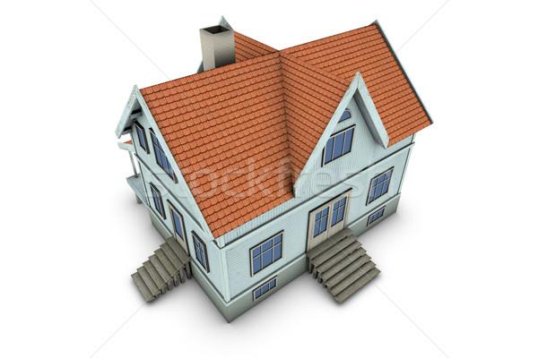 3D home neue Familie Haus 3D-Darstellung Stock foto © frescomovie