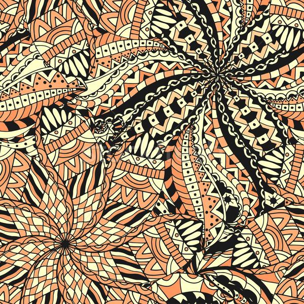 シームレス パターン 民族 手描き テクスチャ 花 ストックフォト © frescomovie