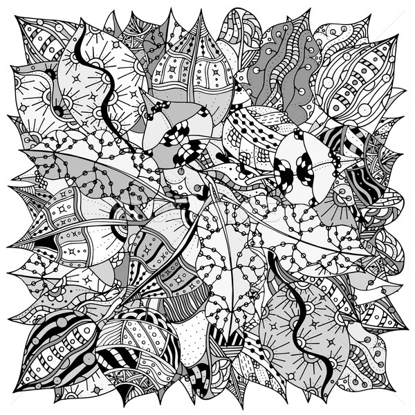 Model Sonbahar Yaprakları Boyama Kitabı Etnik Retro